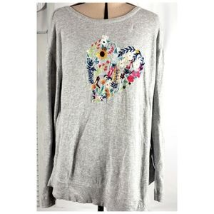 Lisa Todd SM Embroidered Floral Heart Gray  Asymme